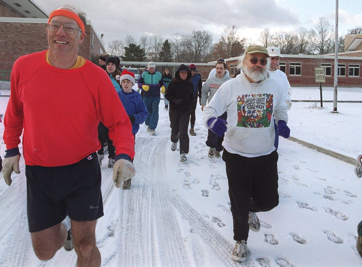 From 1999: Braving 20-degree weather and an inch of snow on the ground, 63 runners gathered Thanksgiving morning at Ithaca High School for the annual Ithaca Turkey Run.