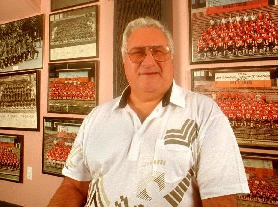 Former Union-Endicott football coach Fran Angeline is seen in the basement championship room of his Endicott home in 1996.