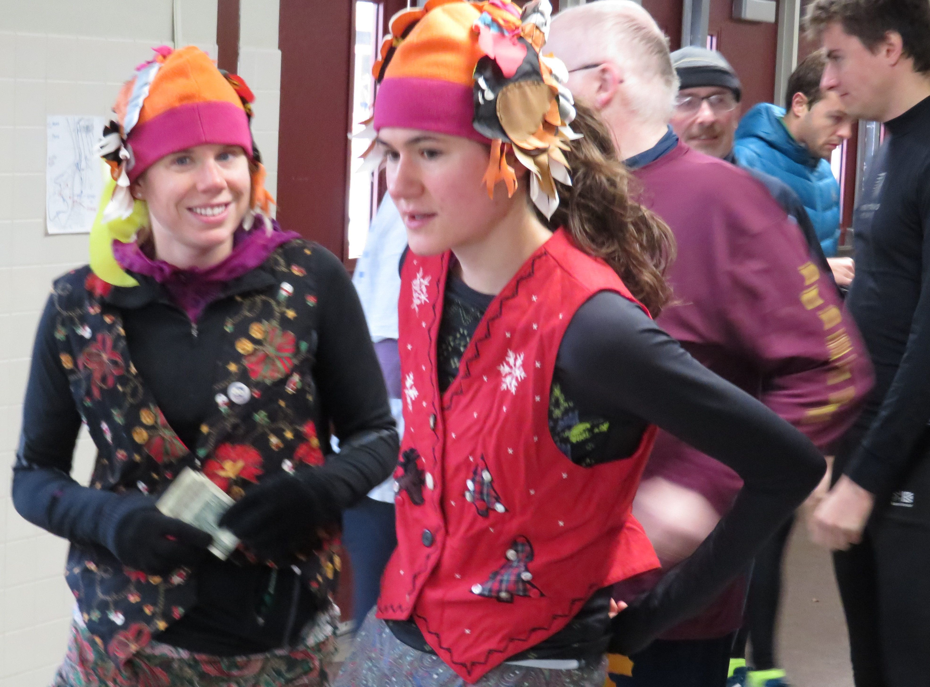 From 2017: Bonnie Patcher, left, and Heather Guetterram dressed festively for the Turkey Trot.
