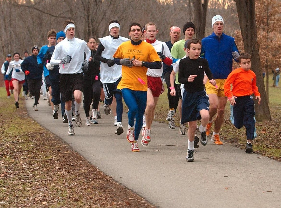 From 2004: Over 200 people participated in the YMCA annual Resolution Run at Otsiningo Park Wednesday afternoon. The event, a 5k run/walk, was followed by a party for participants.