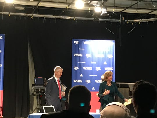 Congressional candidates Anthony Brindisi and Claudia Tenney at their final debate before the general election.