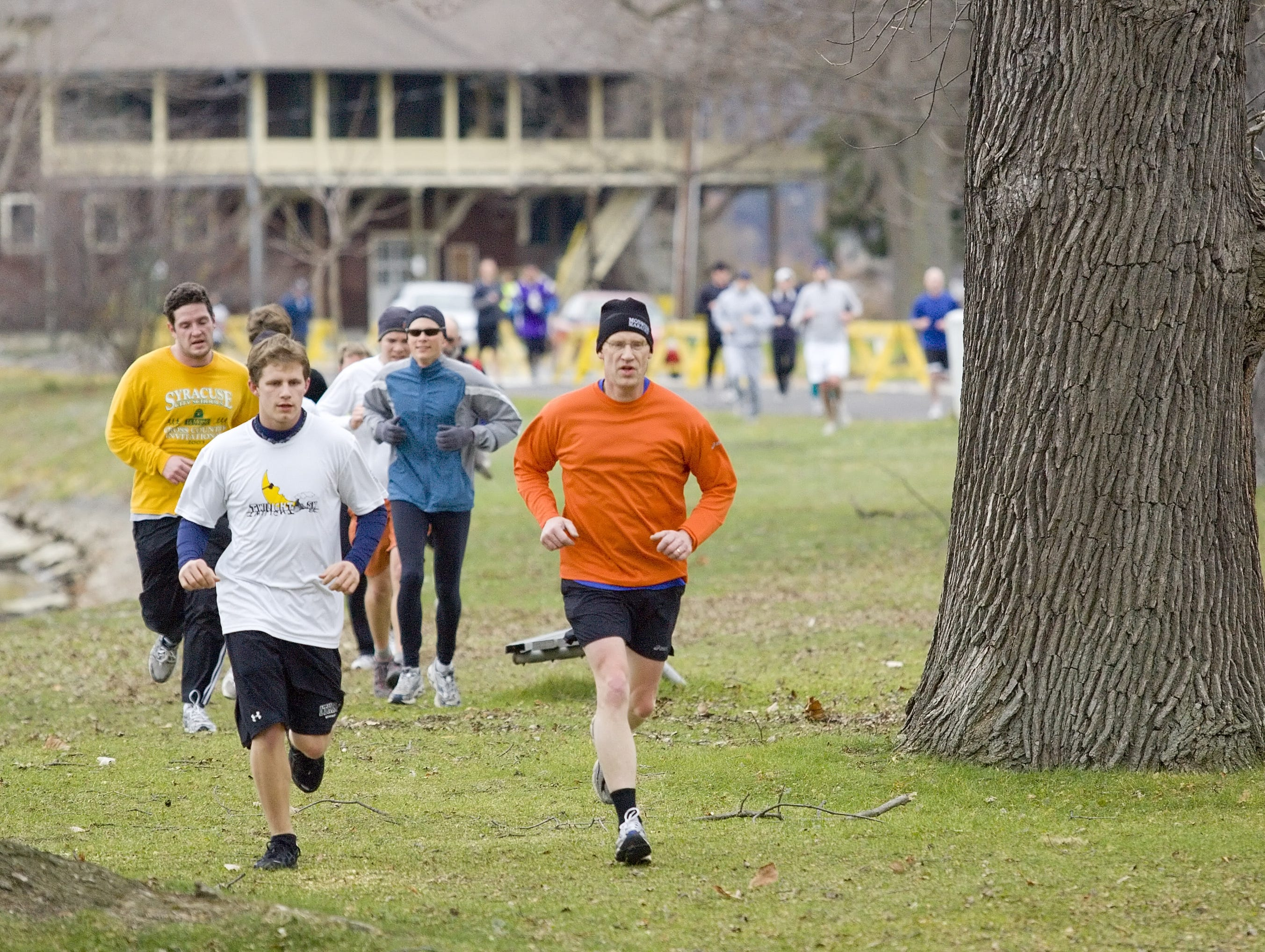 Runners make their way across Stewart Park during the 2010 Turkey Trot. The annual event is held Thanksgiving morning. Runners are encouraged to bring canned food that will be donated to Loaves and Fishes.