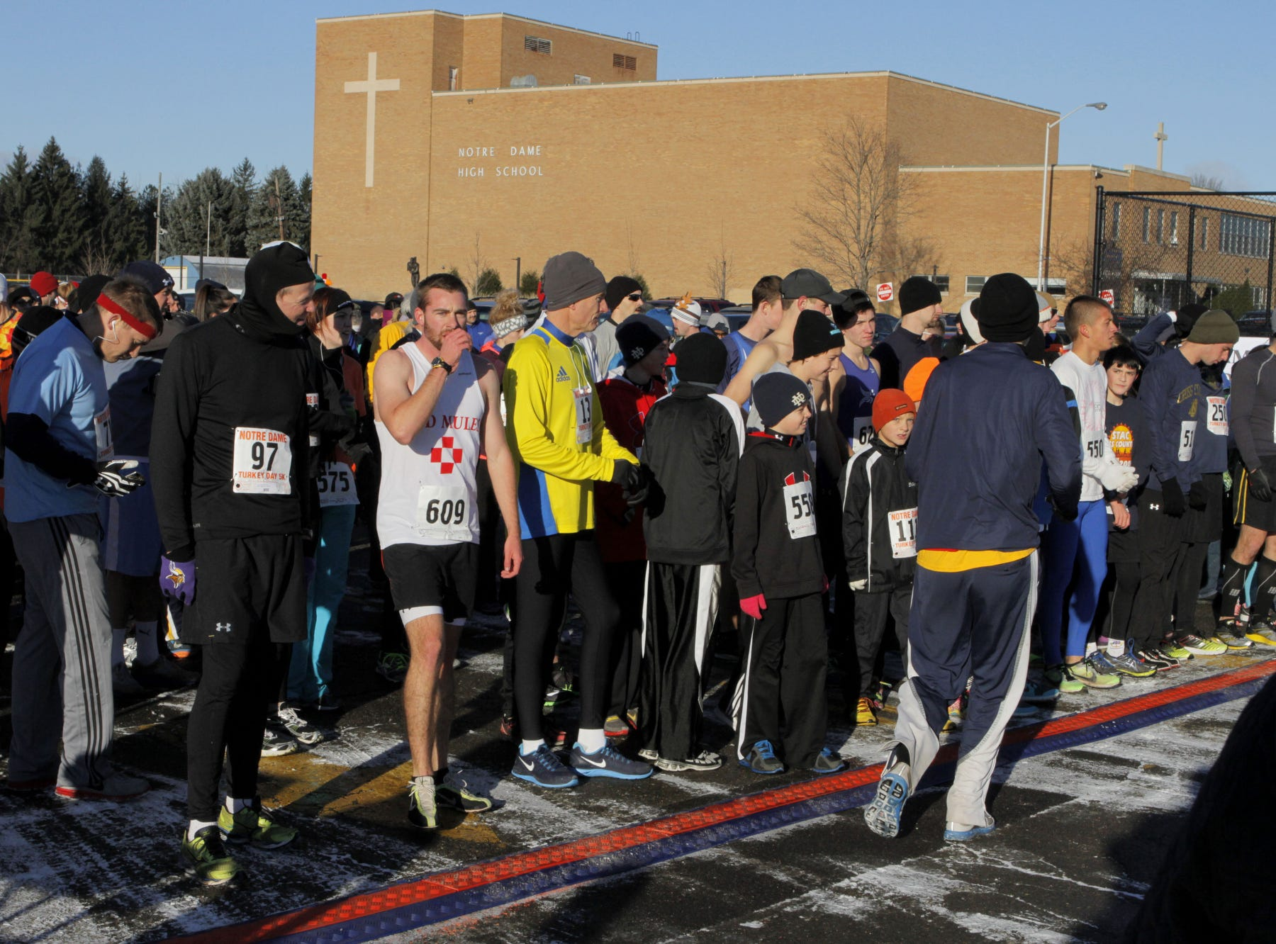 The temperature was about 20 degrees at the start of the 2013 Turkey Trot 5K at Notre Dame High in Southport.