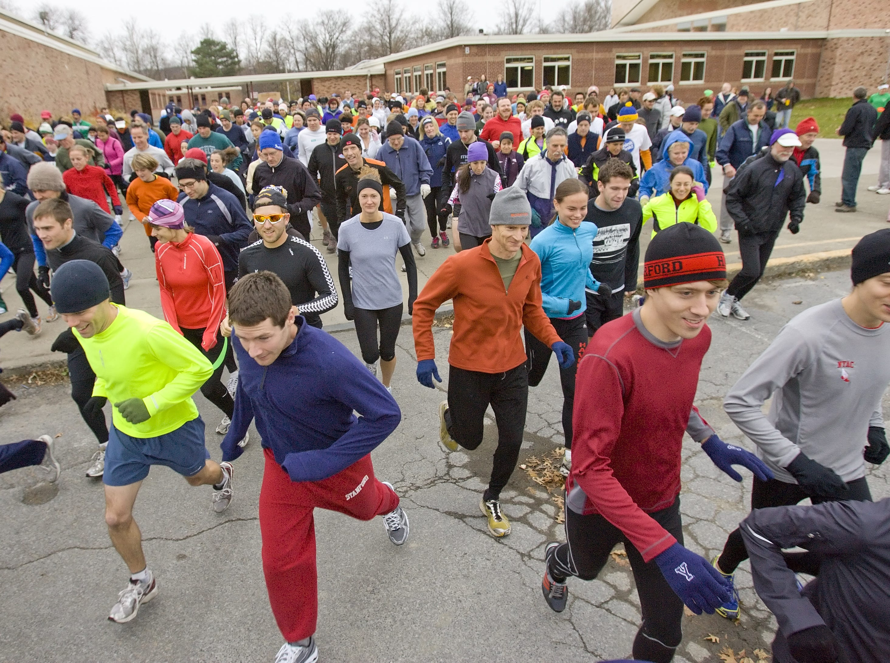 From 2010: Two hundred and seventy runners start off from Ithaca High School Thursday morning shortly after 9 a.m. for the 38th annual Turkey Trot. The event now also a benefit for Loaves and Fishes, awards pies to those who run the almost five-mile course closest to their predicted time.