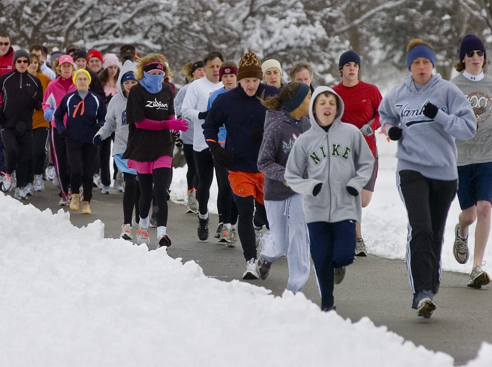 More than 150 runners participated in the annual YMCA 5K Resolution Run in 2007, held on New Year's Eve at Otsiningo Park.