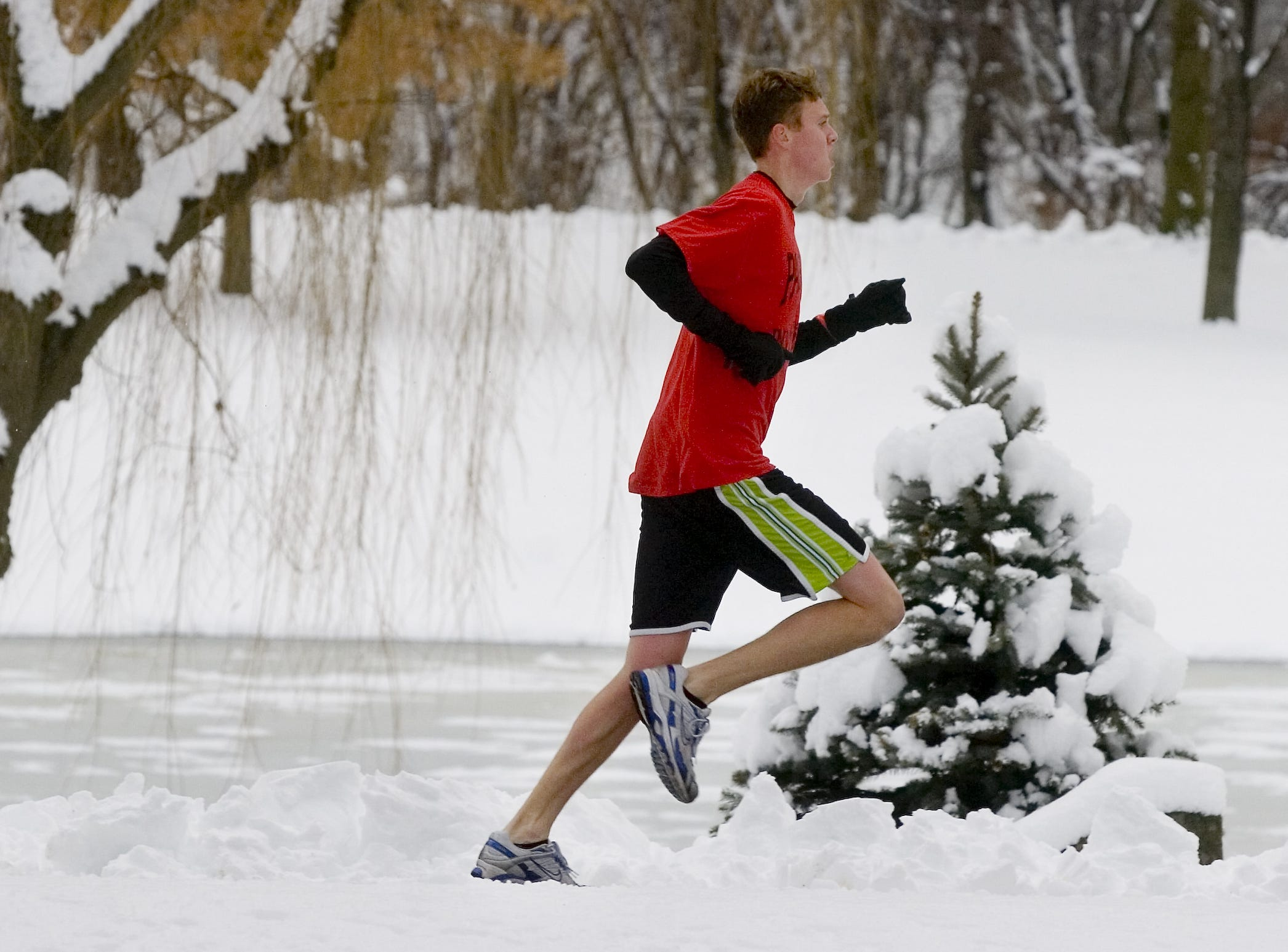In 2007, Jeff Martinez of Johnson City is in the lead during the annual YMCA Resolution Run, held on New Year's Eve at Otsiningo Park. He won the 5K event with a time of 17:24.