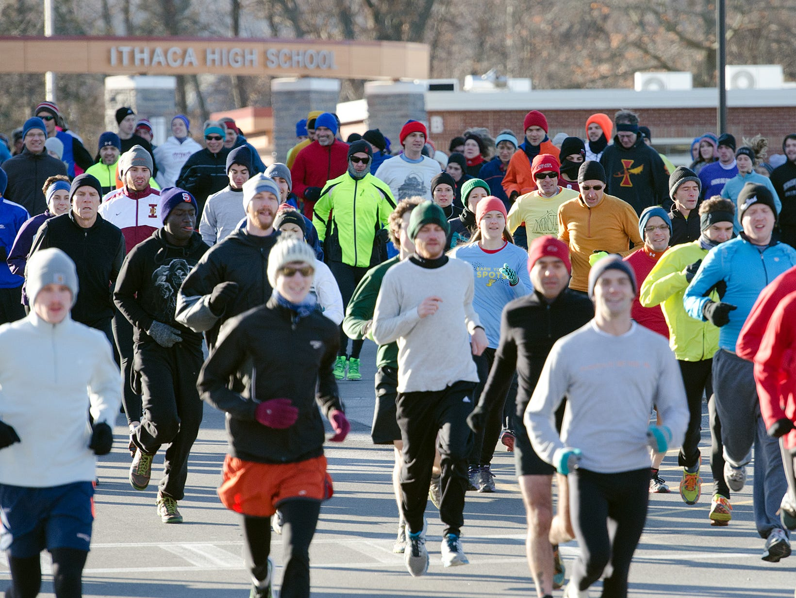 From 2013: Runners take off from Ithaca High School at the start of the 41st annual Thanksgiving Day Turkey Trot.