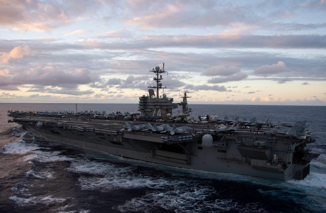 PACIFIC OCEAN (Oct. 27, 2018) The Nimitz-class aircraft carrier USS John C. Stennis (CVN 74) steams through the Pacific Ocean. John C. Stennis is underway conducting routine operations in the U.S. 3rd Fleet area of operations.