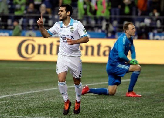 Victor Rodriguez, left, and the Seattle Sounders open the MLS Western Conference finals on Sunday at Portland.