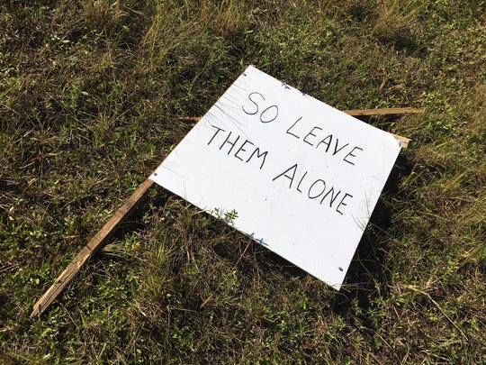 A sign made by Ruth Ceike Meier, 89, was one of 14 Burma-Shave-style signs she erected to thank volunteers who clean the road near her home and to voice support for gubernatorial candidate Andrew Gillum.