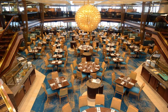 Shown is the dining room on the Carnival Sunshine. This week there was a malfunction with the ship, causing it to tilt to one side, before it returned to Port Canaveral on Nov. 2, 2018.