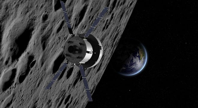Artist rendering of NASA's Orion crew capsule, powered by a European Space Agency service module, orbiting the moon.