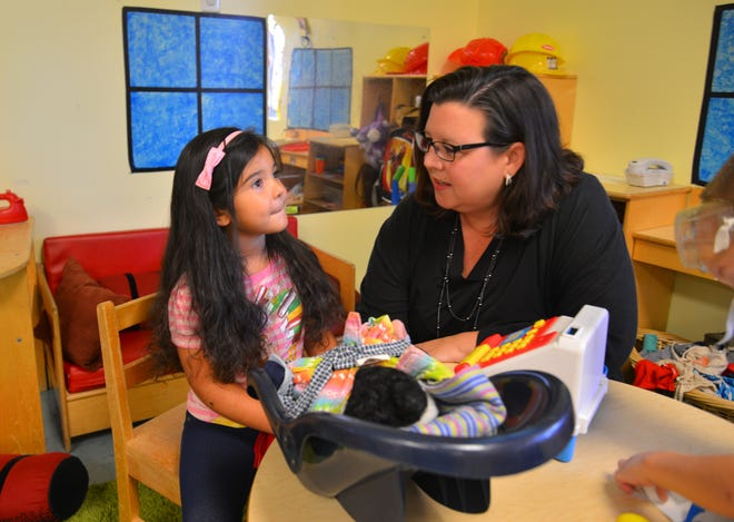 Sky Beard, executive director of the Early Learning Coalition, pays a visit to Jellybean Junction Early Learning Center in Melbourne. The preschool gets support from the Early Learning Coalition for its school readiness program and voluntary Pre-K program.