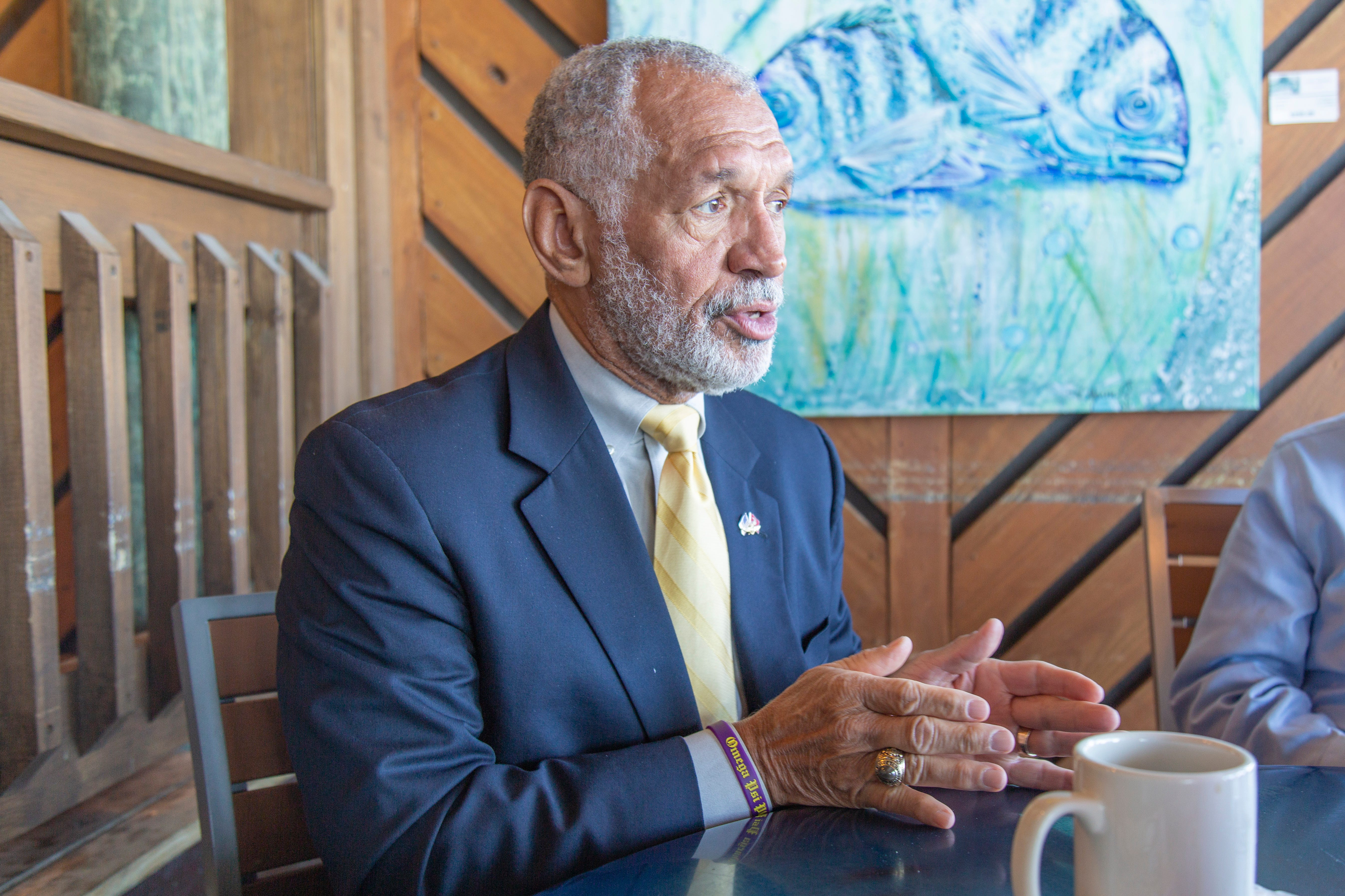 Former NASA Administrator Charlie Bolden speaks with Sen. Bill Nelson at Port Canaveral's Grills Seafood Deck & Tiki Bar on Wednesday, Oct. 31, 2018.