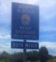 A stretch of roadway bears the name of Ruth Ceike Meier, a longtime volunteer who picked up trash in her West Melbourne neighborhood.