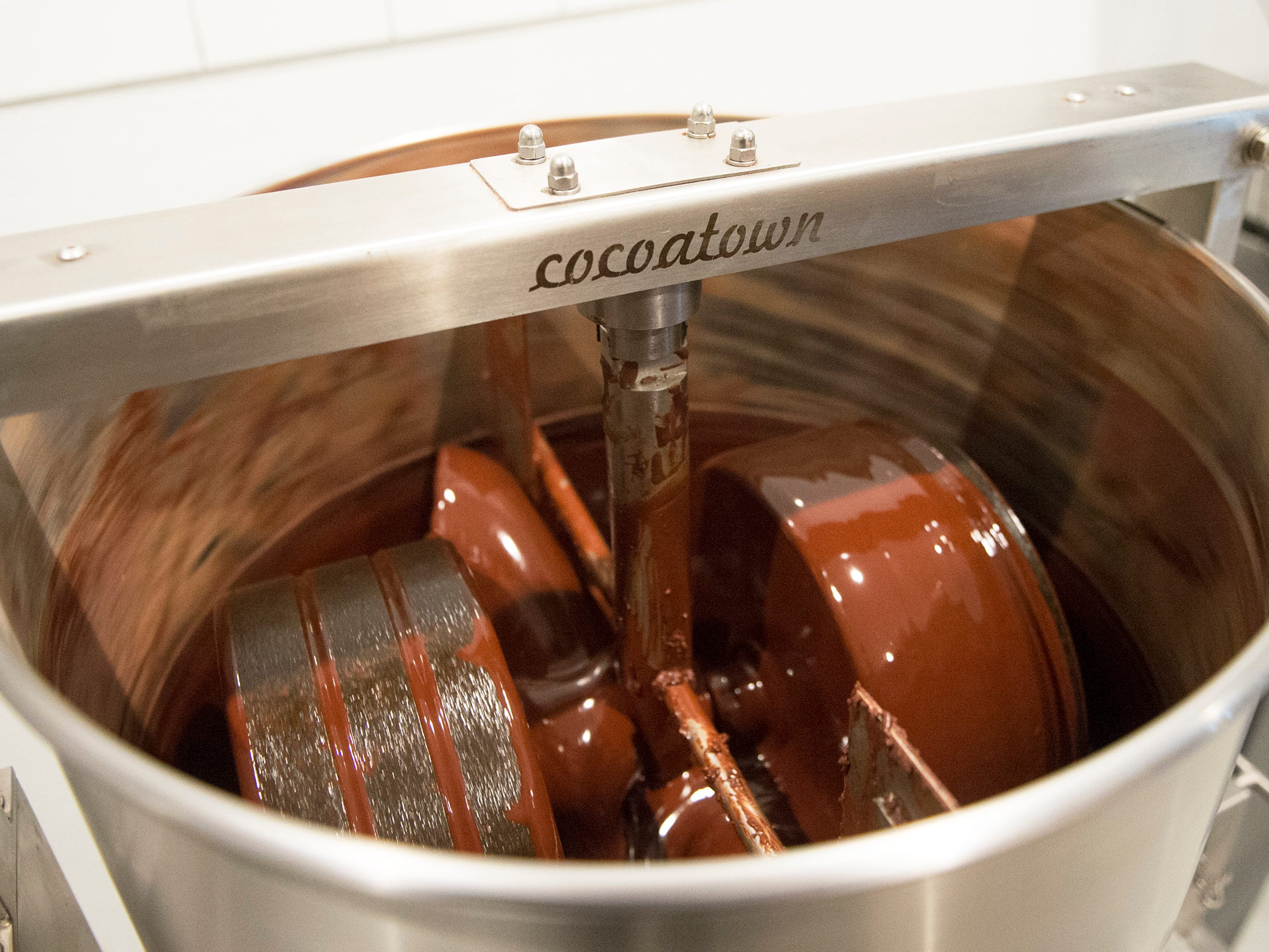 Homemade chocolate in the works at MADE Atlantic City Chocolate Bar in Atlantic City, N.J.