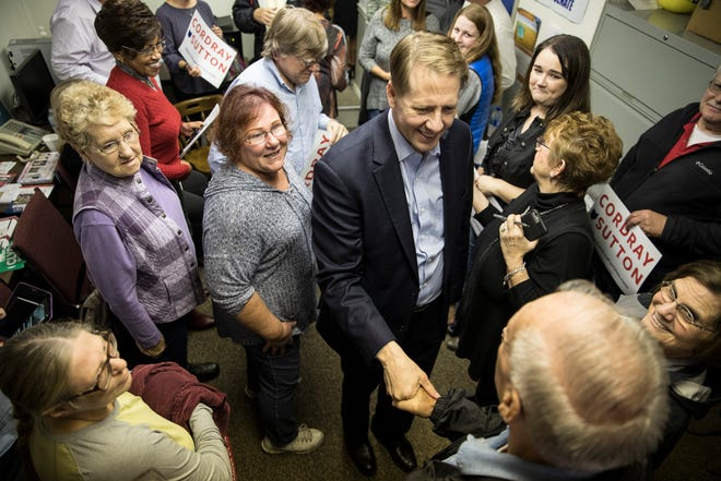 Democratic gubernatorial candidate Richard Cordray shook hands and briefly talked to local supporters Thursday afternoon in Chillicothe about what he envisions the future of Ohio being under his leadership.
