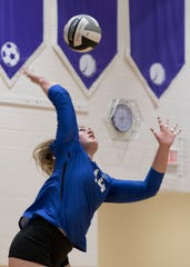 Skylar Hice serves the ball in a 3-1 regional semifinal win over Berlin Hiland in 2018. Hice, who was the SVC and the District 14 Player of the year in 2018, looks to build on her success in the upcoming volleyball season.