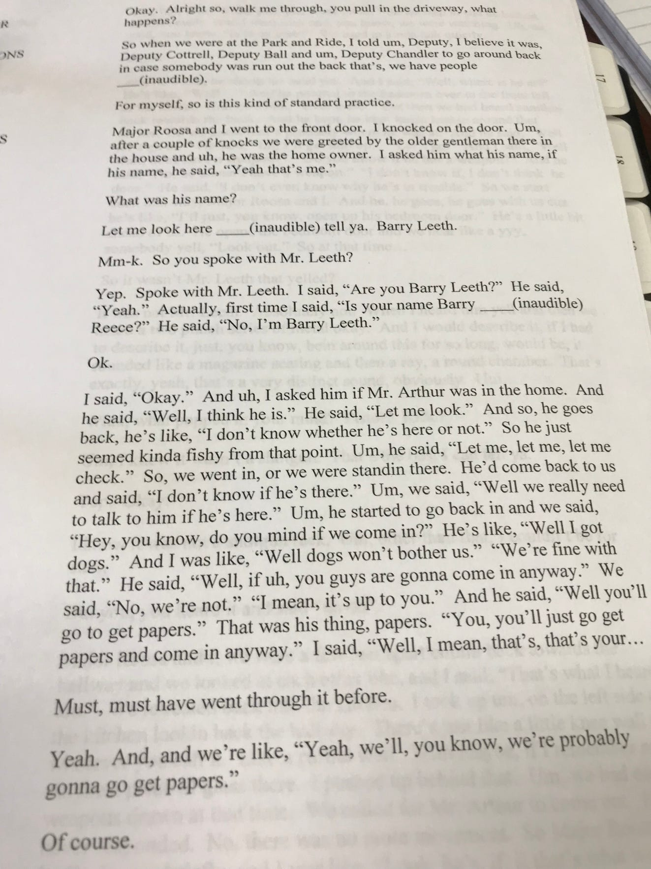 A transcript of an interview Pike County Sheriff's Sgt. Brock Clemmons outlines their interaction with Barry Leeth.