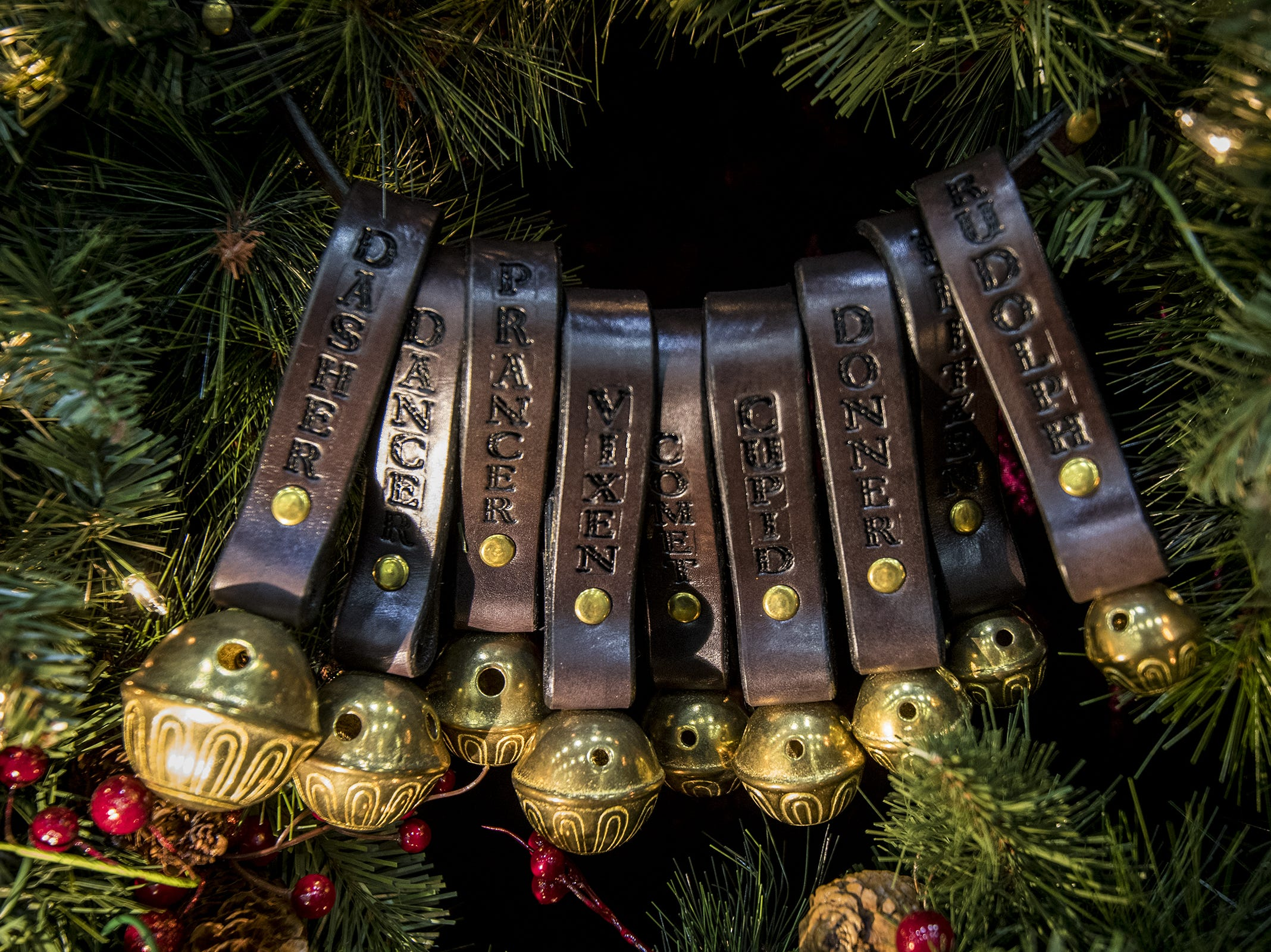 Irish Leather Works sells handmade reindeer bells and other gifts during the Greater Cincinnati Holiday Market at the Duke Energy Center Friday, November 2, 2018 in Cincinnati, Ohio.