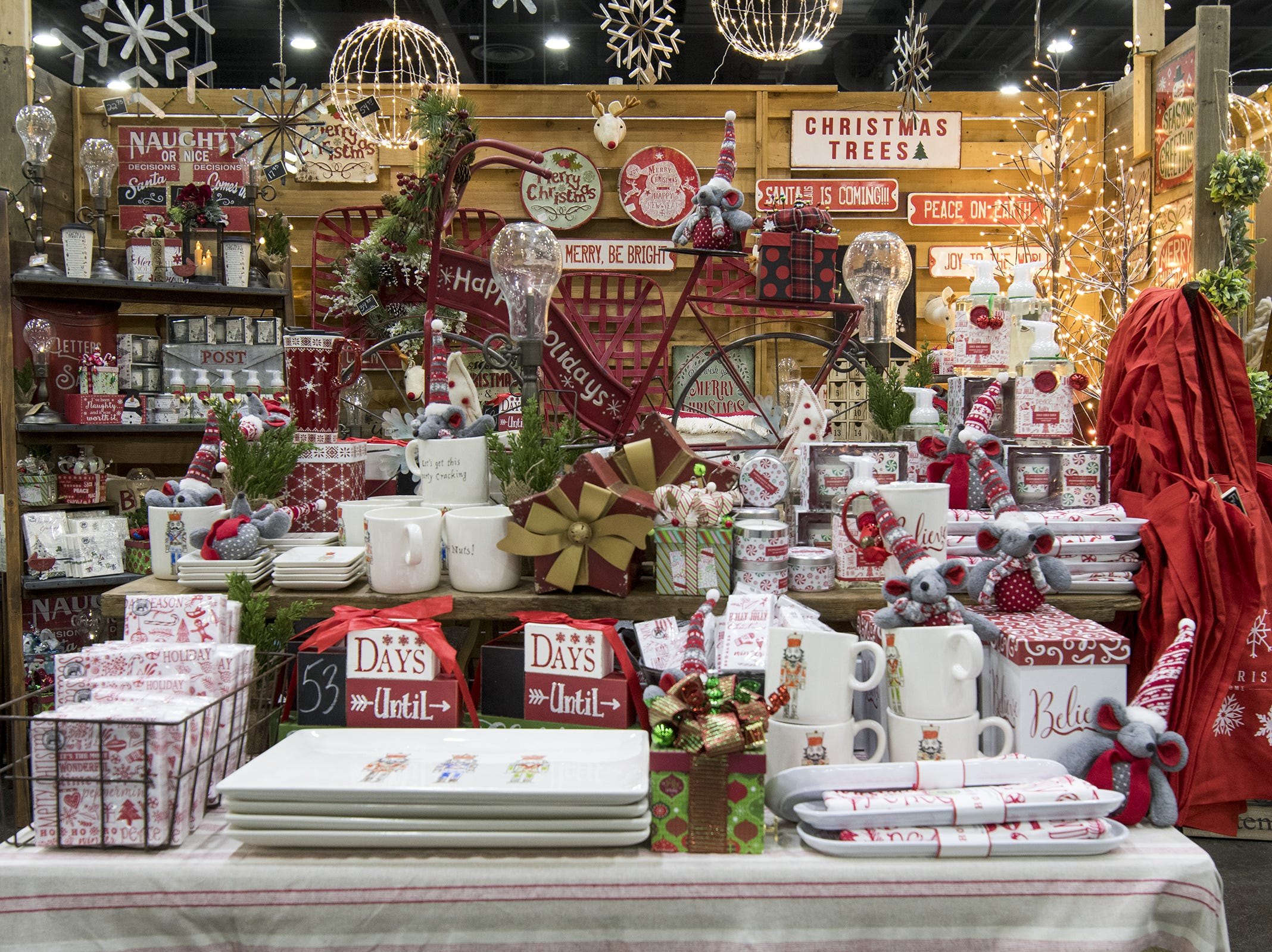 Flourish Home sells tons of holiday decorations during the Greater Cincinnati Holiday Market at the Duke Energy Center Friday, November 2, 2018 in Cincinnati, Ohio. The event runs through Sunday, November 4.