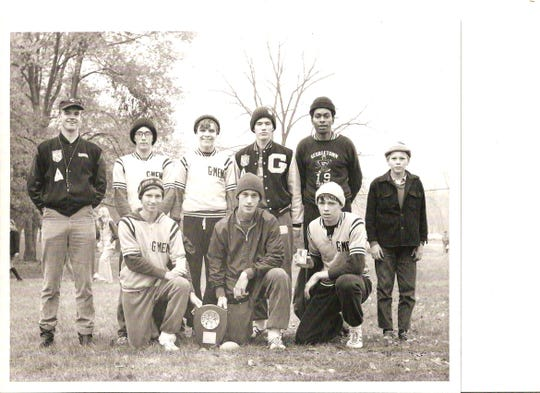 The 1970 Georgetown state runner-up team included, from left: Back, coach Vern Hawkins, Rick Brown, Billy Richey, Denver Stanfield, Larry Berry and team manager Lonnie Lewis; front, Mike Bends, Denny Brooks and Dan Lindsey