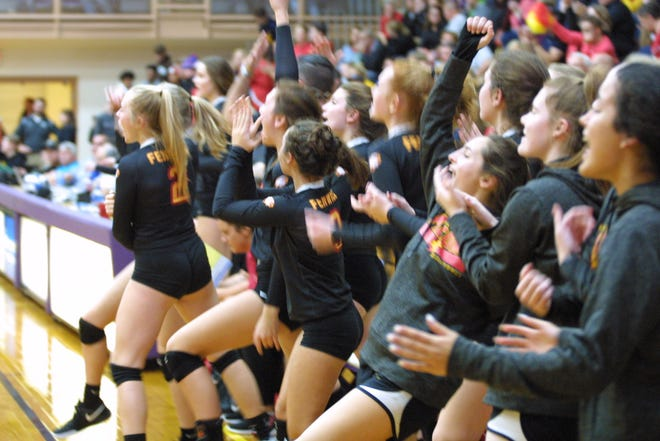 Bishop Fenwick players celebrate their victory over McNick at Butler High School in the 2018 Girls Division II volleyball regional semifinals Nov. 1, 2018.