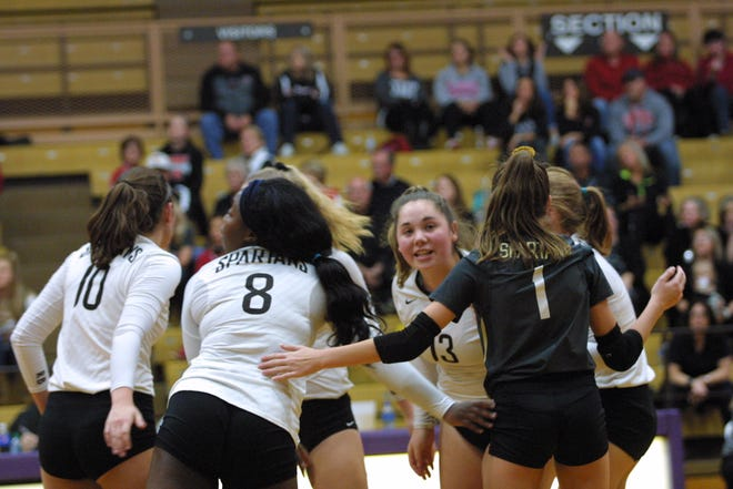 Roger Bacon players join together to celebrate another point against Tippecanoe High School at Butler High School, November 1, 2018, in the Girls Division II volleyball regional semifinals.