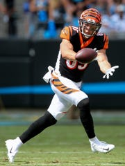 Cincinnati Bengals tight end Tyler Eifert (85) completes a catch in the fourth quarter during a Week 3 NFL game between the Cincinnati Bengals and the Carolina Panthers, Sunday, Sept. 23, 2018, at Bank of America Stadium in Charlotte, North Carolina.
