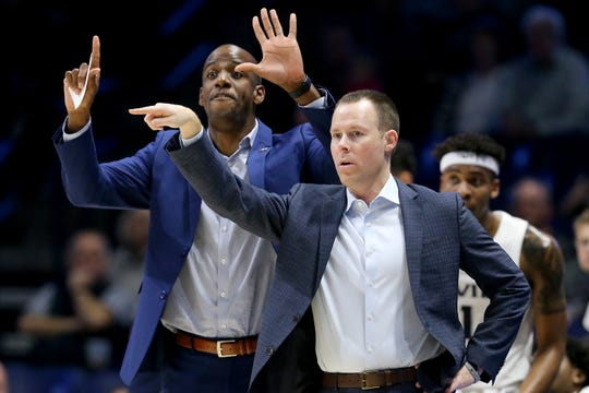 Xavier Musketeers head coach Travis Steele, right, and assistant coach Dante Jackson instruct the team n the first half during a college basketball exhibition game between the Kentucky Wesleyan College Panthers and the Xavier University Musketeers, Thursday, Nov. 1, 2018, at the Cintas Center in Cincinnati.