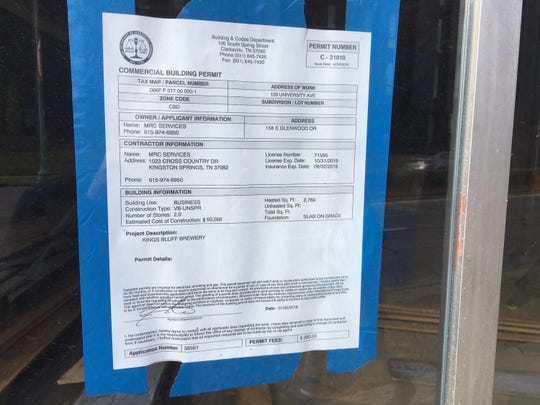 King's Bluff Brewery displays its city building permit on its University Avenue storefront, as it prepares for a December opening.