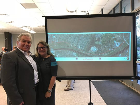 River Road residents Warren Zimmerman and Councilwoman Gabrielle Cahill look forward to a ban of  commercial trucks on the roadway.