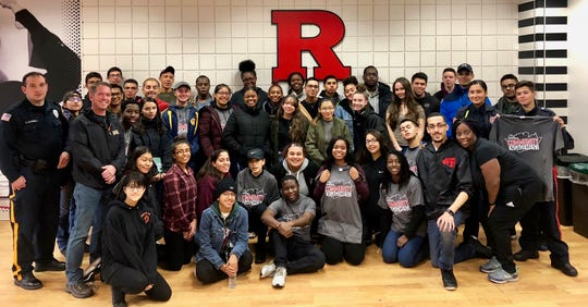 Students and chaperones from Linden High School at Rutgers-Newark for Community Engagement Day on Oct. 27.