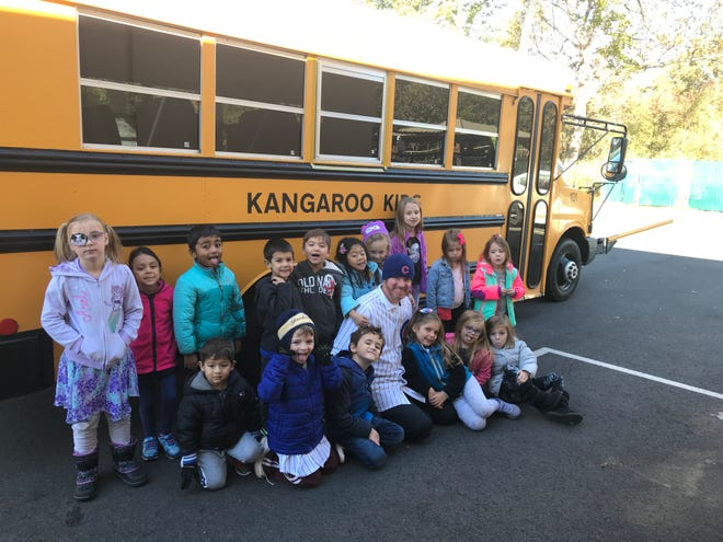 Shaun Pidany, assistant director at Kangaroo Kids, reviewed school bus safety tipsrecently with Melissa Reilley-Grecco's Kindergarten class.