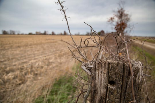 Farm field near Pulaski, Iowa, Thursday, Nov. 1, 2018, where, in late January 2018, Sharon Moritz's body was found in a burned out car.  She burned to death in the backseat of her car on land that once belonged to her family now belonging to her ex-husband.
