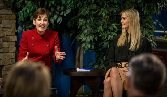 Iowa Gov. Reynolds and Ivanka Trump hold a roundtable event at Salt of the Hearth in West Des Moines, Iowa, Friday, Nov. 2, 2018.