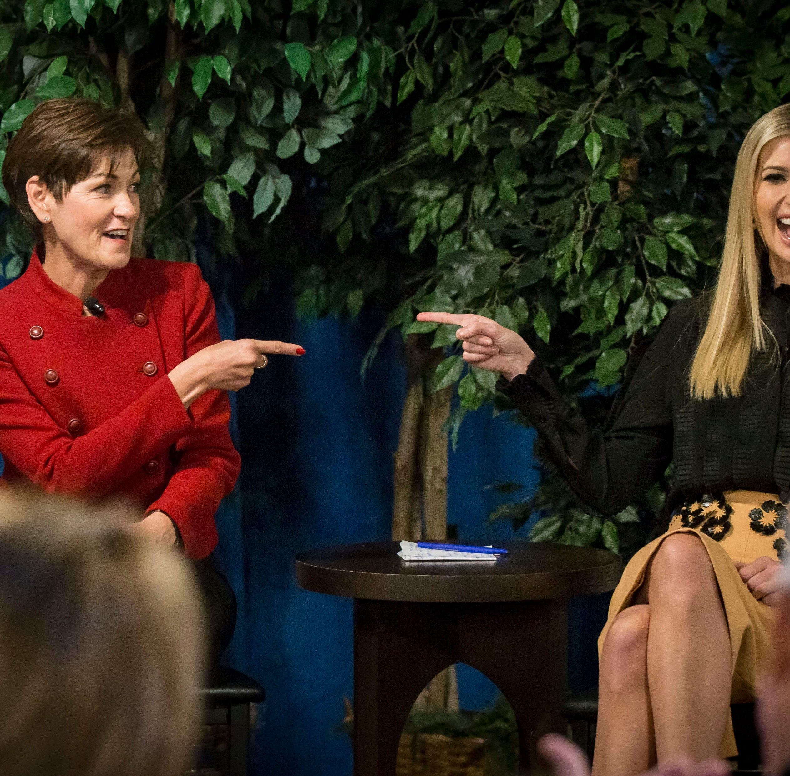 Iowa Gov. Reynolds and Ivanka Trump share a laugh during a campaign event at Salt of the Hearth in West Des Moines, Iowa, Friday, Nov. 2, 2018.