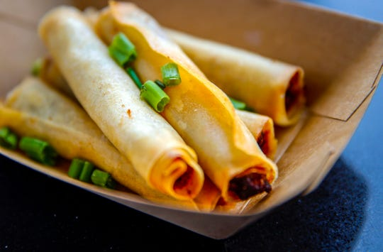 Lumpia, a spring roll commonly found in Indonesia and the Philippines from Lola's Fine Kitchen Wednesday, Oct. 31, 2018.