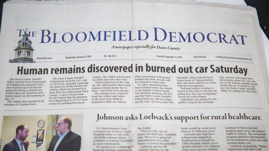 Copy of The Bloomfield Democrat from Jan. 31, 2018, after  a body was found in a burned out car south of Pulaski. Sharon Moritz burned to death in the backseat of her car on land that once belonged to her family now belonging to her ex-husband.