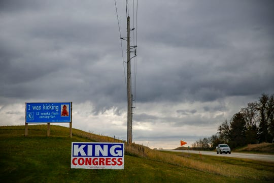A political sign for Steve King outside of his home town of Kiron Friday, Nov. 2, 2018.