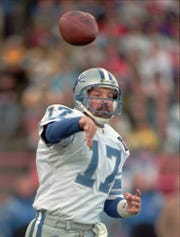 Detroit Lions backup quarterback Dave Krieg passes against the Green Bay Packers during the second half Sunday, Nov. 6, 1994 in Milwaukee.  Krieg passed for 275 yards and three touchdowns on 33 attempts in the Lions 38-30 losing effort.  Krieg entered the game in the second quarter after Scott Mitchell left with a hand injury.