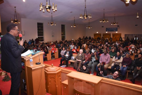Greg Mathis speaks Thursday, Nov. 1, 2018, to an audience in Flint about continuing work to resolve the city's water crisis.
