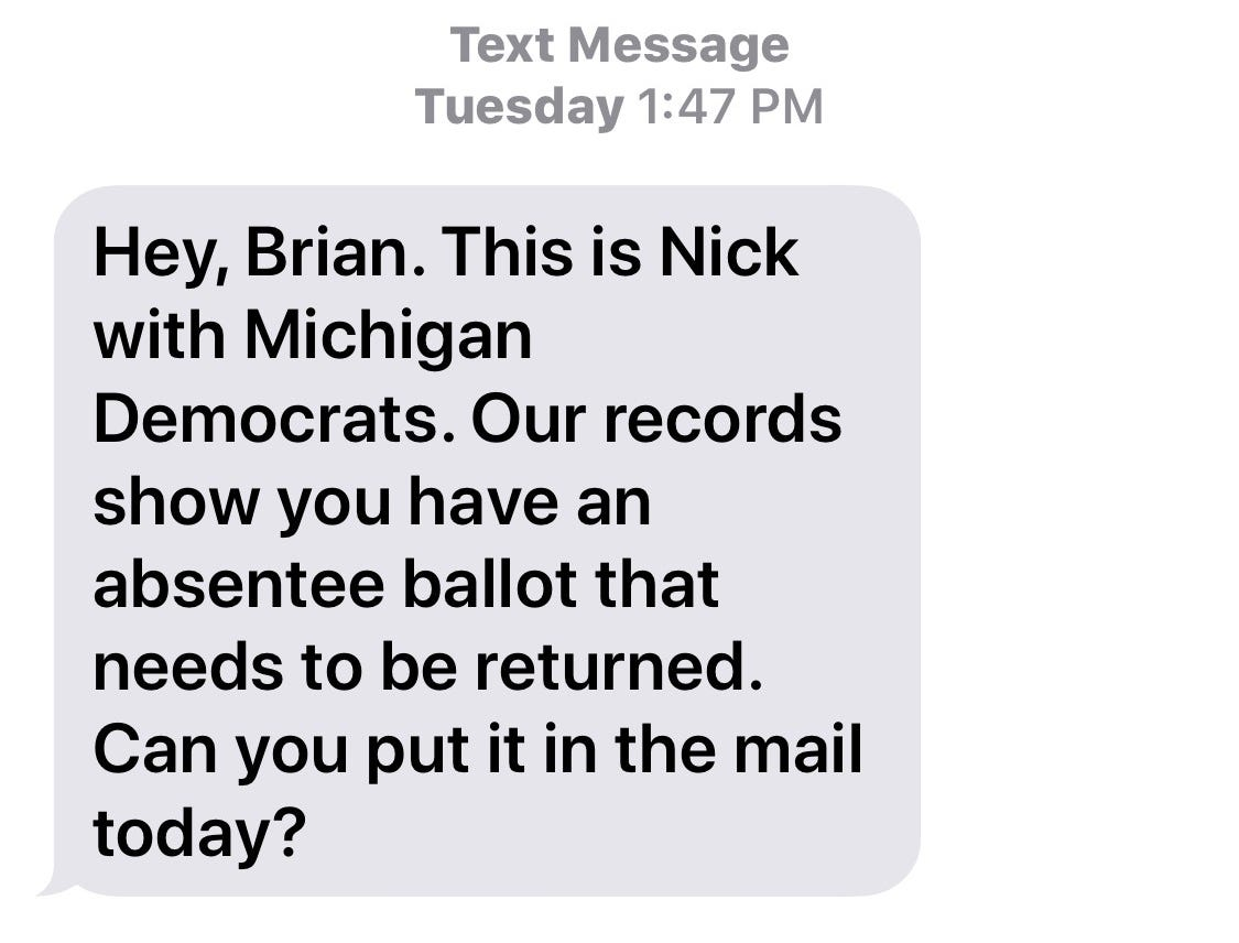 The text Brian Fenech received from Michigan Democrats.