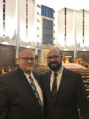 Rabbi Robert Gamer (left) of Congregation Beth Shalom in Oak Park and Rabbi Matthew Zerwekh of Temple Emanu-El in Oak Park, after an interfaith vigil at Congregation Beth Shalom on Oct. 30, 2018, to remember the victims of the Pittsburgh synagogue attack.