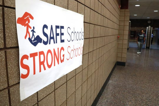 Signs for the Safe Schools, Strong Schools bond proposal are displayed at Chippewa Valley High School in Clinton Twp., Mich. on Thursday, Nov. 1, 2018. The Safe Schools, Strong Schools proposal would fund necessary security improvements to ensure Chippewa Valley Schools students are safe before, during and after school. This $97 million dollar proposal would fund security equipment and enhancements at existing buildings and facilities that would help keep Chippewa Valley