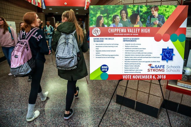 Signs for the Safe Schools, Strong Schools bond proposal are displayed At Chippewa Valley High School in Clinton Twp. on Thursday, Nov. 1, 2018. The Safe Schools, Strong Schools proposal would fund necessary security improvements to ensure Chippewa Valley Schools students are safe before, during and after school. This $97 million dollar proposal would fund security equipment and enhancements at existing buildings and facilities that would help keep Chippewa Valley