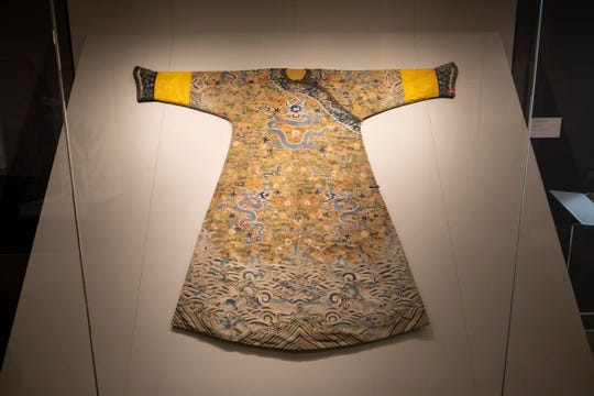 A silk Chinese Dragon Robe dated 1700's to 1800's, is included in the new Asian Wing exhibit. Detroit Institute of Arts opens the new Robert and Katherine Jacobs Asian Wing that includes art galleries for Chinese, Korean, Indian and Southeast Asian and Buddhist art. The media previews the wing Thursday, Nov. 1, 2018.