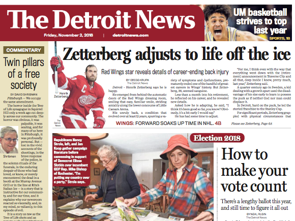 The front page of The Detroit News on Friday, November 2, 2018.