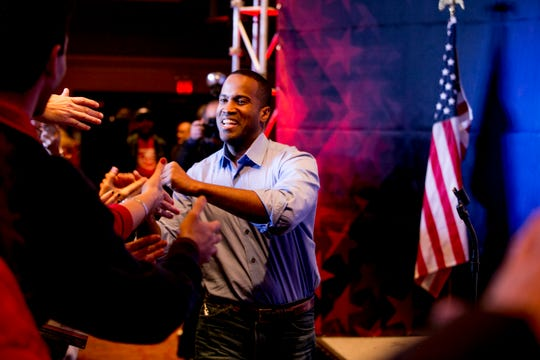 FILE - John James campaigns at a rally for GOP candidates for office at Villa Penna in Sterling Heights, MI on November 1, 2018.