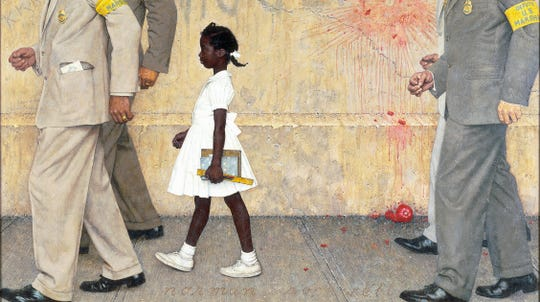 "(Crop of original painting)  Norman Rockwell (1894-1978), The Problem We All Live With, 1963.  Oil on canvas, 36"" x 58"".  Illustration for Look, January 14, 1964. Ruby Bridges is the young girl depicted in this famous painting by Norman Rockwell."